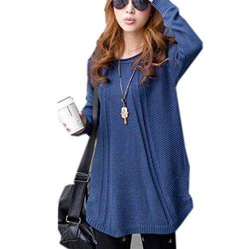 Minetom Maglietta Manica Lunga Pullover Shirt Blouse Top Knit Maglione Oversize - Donna (Blu, One size)