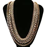 Gold with Clear 25 Inch Adjustable 3 Row Box Chain, Iced Out Link and Cuban Chain Link Necklace