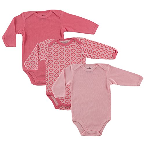 Luvable Friends Long Sleeve Thermal Bodysuit 3-Pack, Pink Hearts, 3-6 Months (Baby Thermal Bodysuits compare prices)