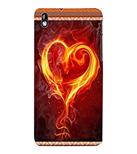 ColourCraft Flaming Heart Design Back Case Cover for HTC DESIRE 816