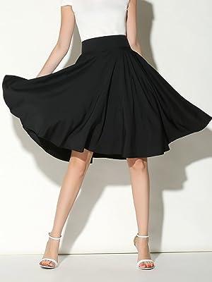 3ff9df758 Choies Women's High Waist Midi Skater Skirt M (black) (Color: Black,  Tamaño: Medium)