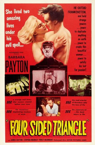 Four Sided Triangle Vintage Film Poster Featuring James Hayter, Barbara Payton, and Stephen Murray