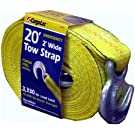 CargoLoc 82494 2-Inch by 20-Feet Emergency Tow Strap with Hooks