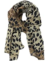 niceeshop(TM) Womens Fashion Long Soft Animal Leopard Print Fringed Shoulder Wrap Chiffon Long Scarf Stole