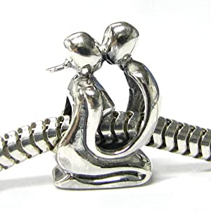 Queenberry Valentines Sterling Silver Lover Kissing Couple Love Bead For Pandora Troll European Charm Bracelets