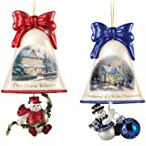 Thomas Kinkade Ringing in the Holidays Glass Bell Shaped and Snowman Ornaments Issue 3 Set of 2
