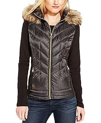 Michael Kors Women's Down Puffer Vest w Faux Fur Trim