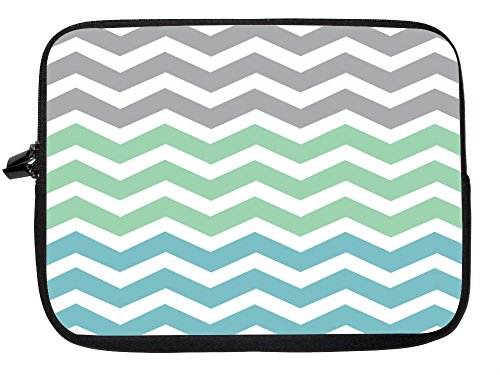 15 Inch Rikki Knighttm Chunky Chevron Grey Turquoise Ocean Zig Zag Laptop Sleeve front-771029
