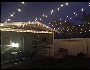 100FT Outdoor Patio String Lights with 100 Clear Globe G40 Bulbs, UL Certified for Indoor/Outdoor Patio Backyard Pool Pergola Market Cafe Porch Garden Marquee Letter Decor (Color: Black, Tamaño: 100 Feet)