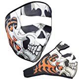 Neoprene Full Face Mask Cold Weather Biker Motorcycles Ski Paintball White Skull