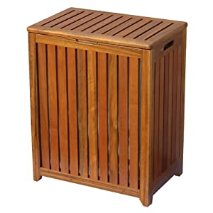 Oceanstar Wooden Laundry Hamper With Hinged Lid