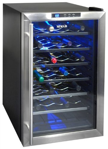 NewAir STAINLESS 28 Bottle Thermoelectric Wine Cooler w/ 6 Pull-Out Chrome Racks
