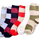 Naartjie Boys Cotton Short Crew Socks Rugby Stripe 6 Pairs Pack