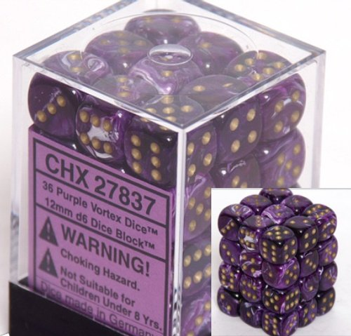 Chessex Dice d6 Sets: Vortex Purple with Gold - 12mm Six Sided Die (36) Block of Dice