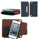 GMYLE(R) iPod touch 5専用 PUレザー財布型スタンドケースカバー[ブルー & ブラウン]