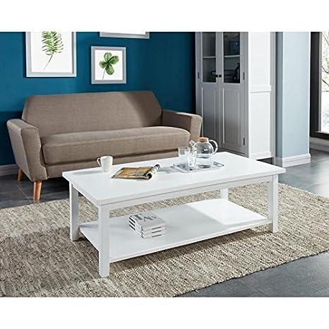 Montauk table basse pieds en pin massif - plateau mdf - blanc laqué - classique - 121x60 cm