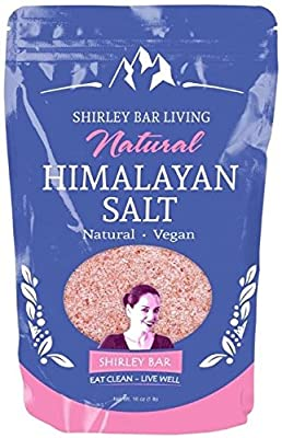 Shirley Bar Living Natural Himalayan Salt, Organic, Kosher, Natural - No Chemicals, Rich in Nutrients and Minerals for Health Benefits, bath salt, food, Fine - 2 LB by Shirley Bar Living
