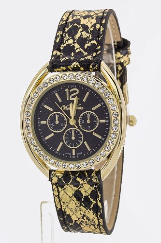 Trendy Fashion Jewelry Metallic Snake Fashion Watch By Fashion Destination | (Black)
