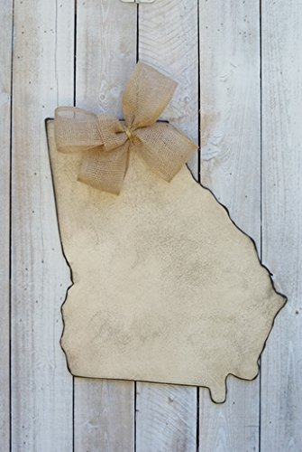 "Antique Cream Georgia State Door Hanger with Burlap Bow. 26"" H By 20.5"" W."
