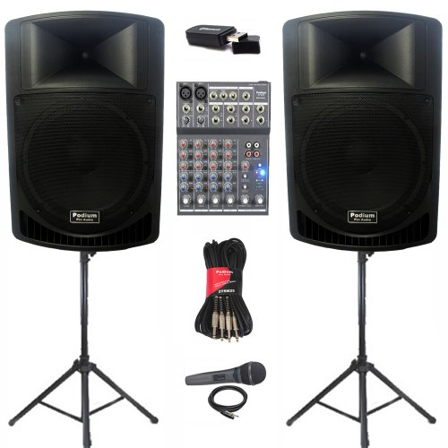 "Podium Pro Pp1506A Battery Powered 15"" Mp3 Speakers Mixer Mic Bluetooth Stands And Cables 1800 Watt Pp1506Aset5B"