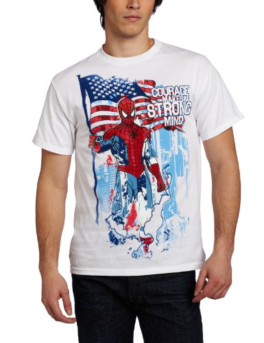 Marvel Spiderman Men's Strong Minded T-Shirt, White, Small