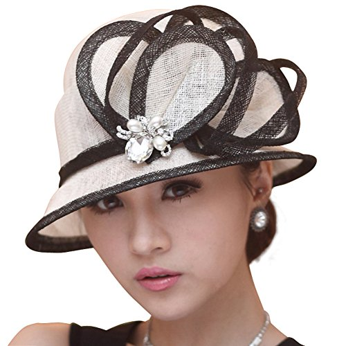 June's Young Ladies Hats Church Hat Sinamay Cocktail Wedding Summer Hat Ascot Race Derby Hat (white black hat)