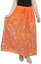 Soundarya Women's Cotton Skirt (Orange)