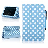ATC For Asus Google Nexus 7 Tablet - Blue Polka Dots Pattern Smart Cover Auto Sleep PU Leather Case ( Include Screen Protector, Cleaning Cloth, Touch Stylus)