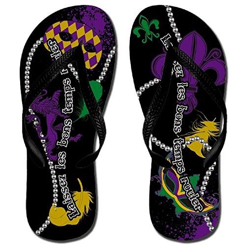 [Katydid Mardi Gras Flip Flops Sandals Shoe Purple Fleur De Lis Mask Beads Feathers Jp (MEDIUM(8/9))] (Mardu Gras Mask)