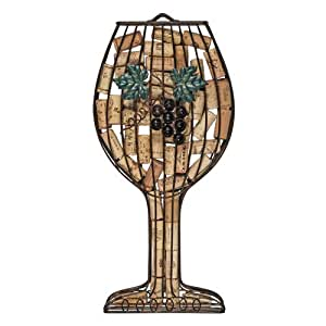TWINE Perfect Wine Lover Gift, Metal Cork Holder - Wine Glass Shaped