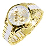 2013newestseller White Luxury Men Classic Stainless Steel Gold Dial Quartz Analog Bangle Wrist Watch