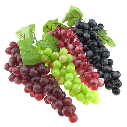 Gresorth 4 Pack Big Lifelike Artificial Black Green Wine Red Grape Faux Fake Grapes Cluster Home Party Decoration (Grapes Decoration For The Kitchen compare prices)