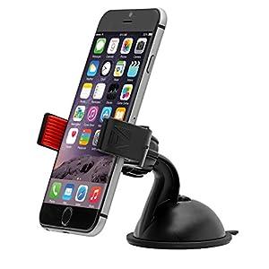 Aduro U-GRIP PLUS Universal Dashboard Windshield Car Mount for Smart Phones, Apple iPhone 5 / 5S / 5C / 4 / 4S / 3G, Samsung Galaxy S2 / S3 / S4, Galaxy NOTE 2, Motorola Droid RAZR / MAXX, HTC EVO 4G, HTC One X, LG Revolution, GPS Holder (Black/Red)