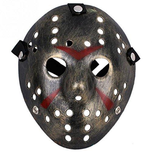 Ultra X di Fancy Dress Jason vS Freddy Halloween venerdì 13 Hockey maschere in una qualità colore adulti PVC maschera d'argento con velcro elasticizzata strap viso maschera fantasia Halloween Costumeplay da Ultra (1 maschera) (color argento)