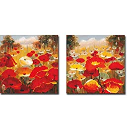 Meadow Poppies III & IV by Lucas Santini 2-pc Premium Gallery Wrapped Canvas Giclee Art Set (Ready-to-Hang)