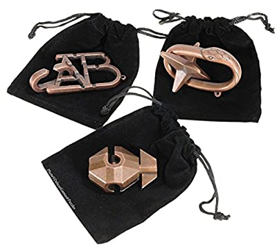 FLAG, ABC & STAR Hanayama Brain Teaser 3 Puzzle Pack _ Burnt Copper Look _ Bonus 3 Black Velveteen Drawstring Storage Pouches