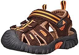 Jumping Jacks Sand Cruiser Dress Sandal (Toddler/Little Kid), Brown Microsuede/Brown/Orange Trim, 27 EU (9.5 W US Toddler)