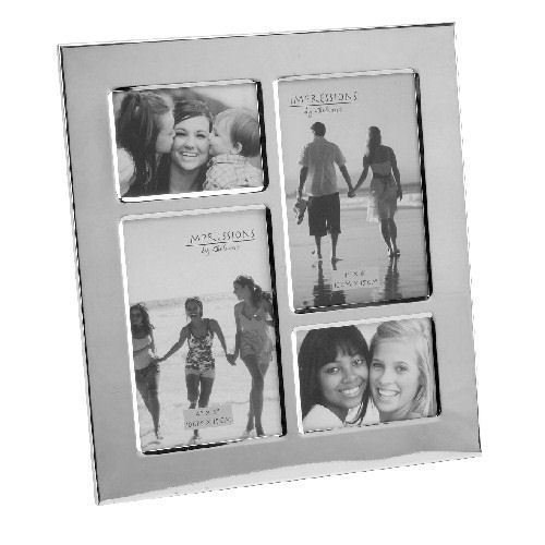 Personalised Silver Plated 4 Aperture Collage Photo Frame Engraved