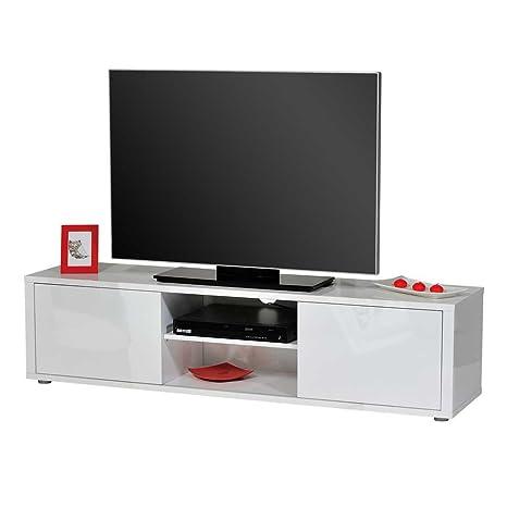 TV Board in Hochglanz Weiß 160 cm breit Pharao24