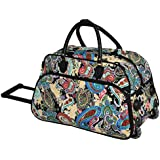 Single Piece Blue Small Wheeled Duffle Bag 22-inch Carry-on Rolling Upright Duffel Bag Paisley Pattern Lightweight...