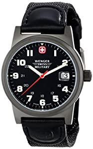 Wenger Swiss Military Men's 72915 Classic Field Black Dial Canvas Leather Military Watch