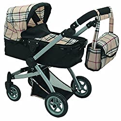Babyboo Deluxe Doll Pram Color Beige Plaid With Swiveling Wheels & Adjustable Handle And Free Carriage Bag 9651 B Beige Plaid