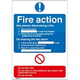 Fire Action Sign 'Sound the Alarm, Dial ...,attack the fire if possible,leave building, close doors behind you' 150x200 Self Adhesive