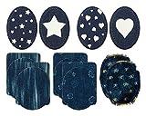 Mono-Quick 307 Jeansflicken Set 14 teilig, Blumen, Streifen,...