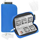 Eco-Fused Memory Card Carrying Case - Suitable for SDHC and SD Cards - 8 Pages and 22 Slots - Eco-Fused Microfiber Cleaning Cloth Included (Blue)