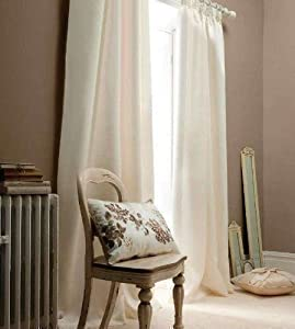 Superb Quality 90x90 Cream Faux Silk Ring Top Fully Lined Curtains *tur* by Curtains