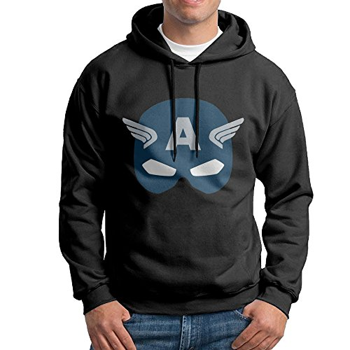 Captain America Mask Pullover Hooded Mens Black Sweatshirt Hoodie (Men Swim Trunks Captain America compare prices)