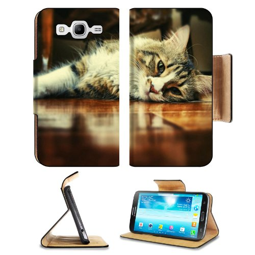 Floor Wood Indoors Cats Animals Samsung Galaxy Mega 5.8 I9150 Flip Case Stand Magnetic Cover Open Ports Customized Made To Order Support Ready Premium Deluxe Pu Leather 6 1/2 Inch (165Mm) X 3 2/5 Inch (87Mm) X 9/16 Inch (14Mm) Msd Mega Cover Professional front-633630