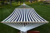 Deluxe Wood Arc Hammock Stand including + Two Person Blue and White Quilted Hammock
