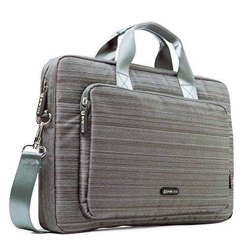 Evecase 17 - 17.3 Pollici Messenger Borsa Custodia in Nylon con manici per laptop, Notebook, Portatile da 17 - 17.3 Pollici- Grigio